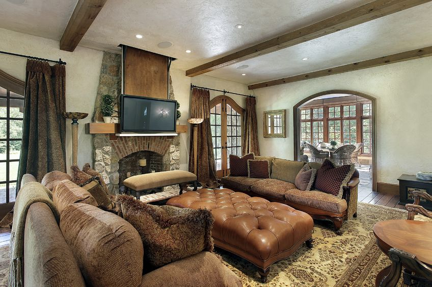 10293098 - family room in luxury home with fireplace