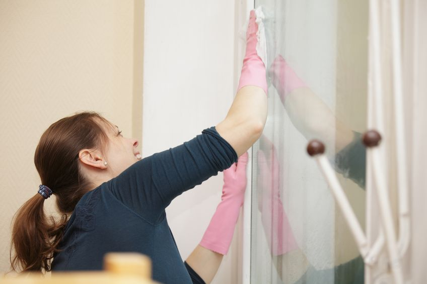 9589483 - smiling woman cleaning window sideview