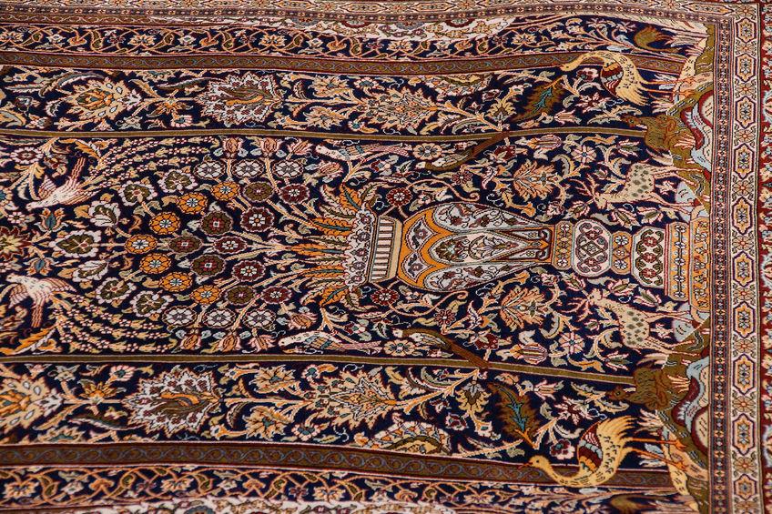 32919751 - finely woven silk carpet  in a carpet showroom in  cappadocia, turkey