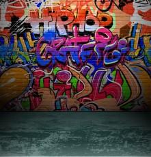 12486245 - graffiti wall background, urban street grunge art vector design